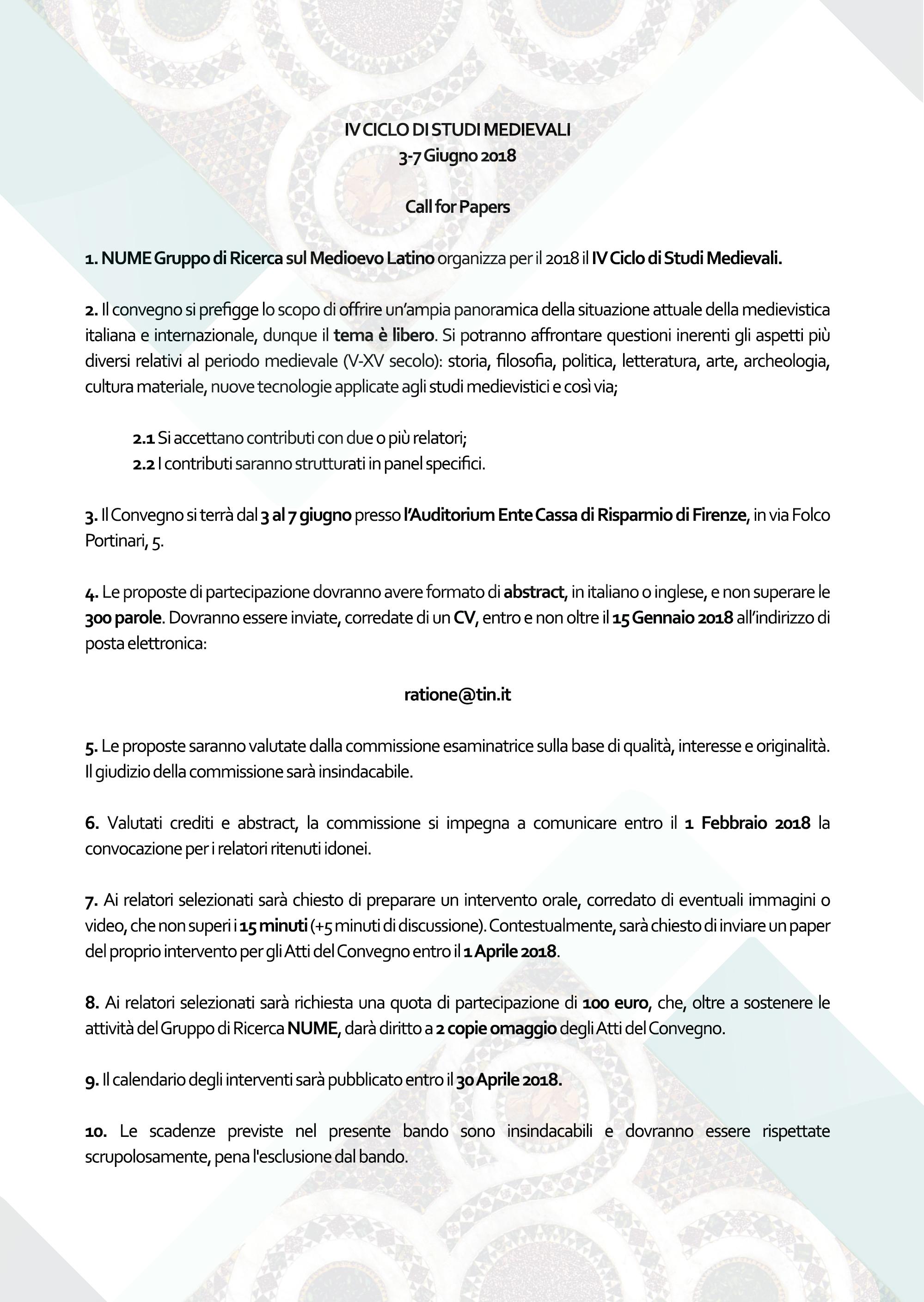 Iv Ciclo Di Studi Me Vali Call For Papers